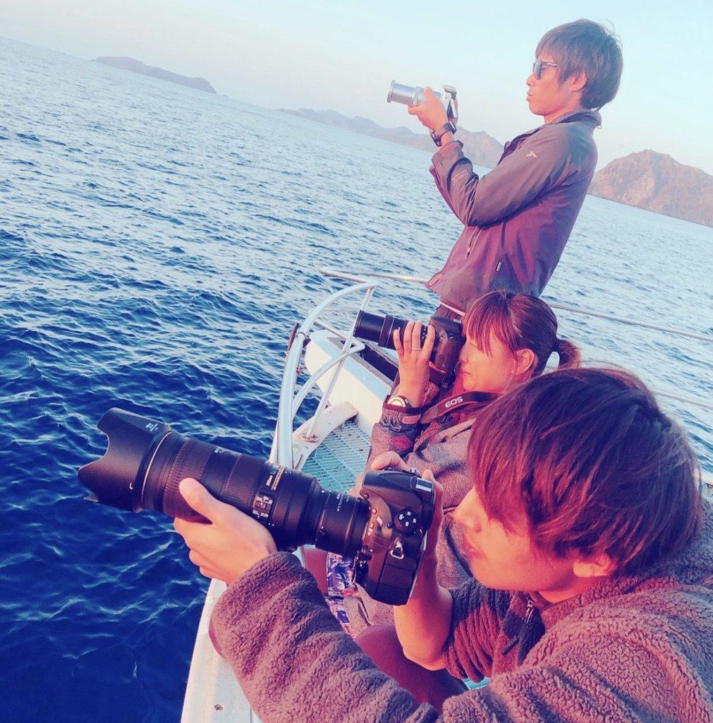 おが丸がいない日にスタッフだけでサンセットクルーズに出掛けて夕陽とジャンプするクジラを狙いに行ったことも。